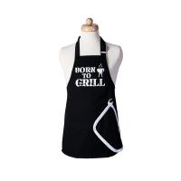 Dětská zástěra Born to grill s utěrkou